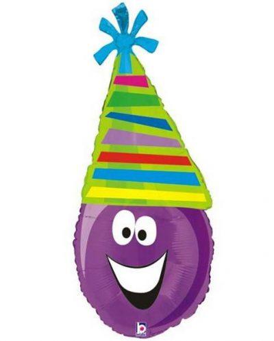 Μπαλόνι μωβ Φατσούλα με καπέλο