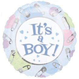 Μπαλόνι γέννησης It's a Boy με παραμάνες 45 εκ