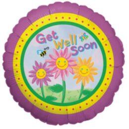 Μπαλόνι Get Well με λουλούδια 45 εκ