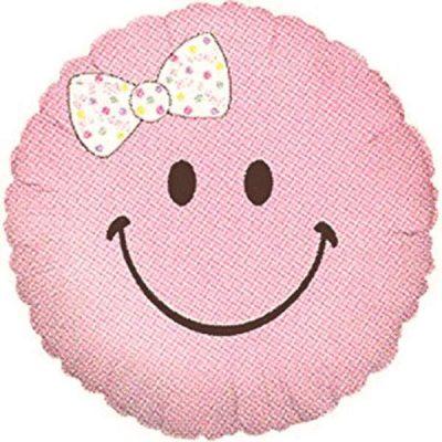Μπαλόνι γέννησης ροζ φατσούλα με φιόγκο