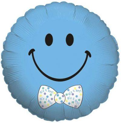 Μπαλόνι γέννησης γαλάζια φάτσα με παπιγιόν 45 εκ
