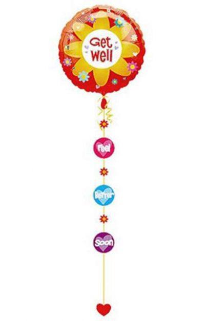 Μπαλόνι Get Well με κορδέλα & κοπτικά 229 εκ