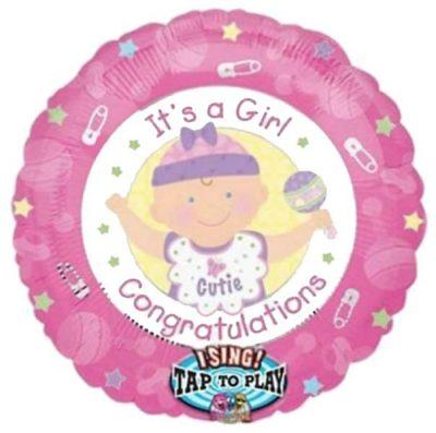 Μπαλόνι γέννησης Μουσικό 'Congrats Girl' 71 εκ
