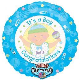 Μπαλόνι γέννησης Μουσικό 'Congrats Boy' 71 εκ