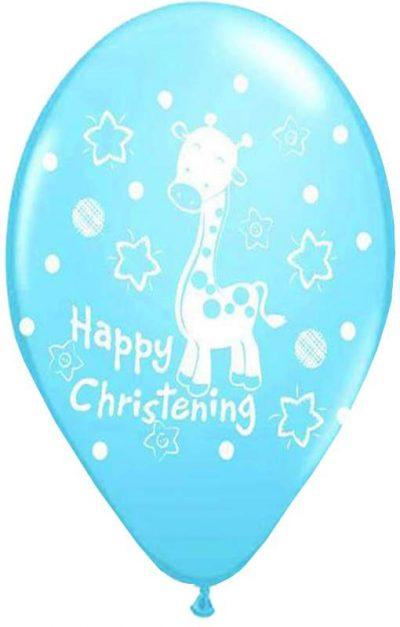 """12"""" Μπαλόνι Happy Christening αγόρι"""