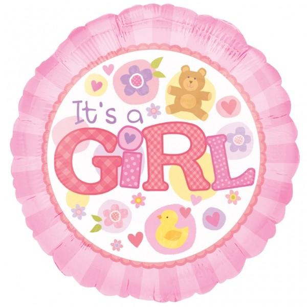 Μπαλόνι γέννησης Girl αρκουδάκι και λουλούδια 45 εκ