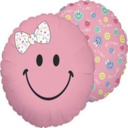 Μπαλόνι γέννησης ροζ φατσούλα με φιόγκο 45 εκ