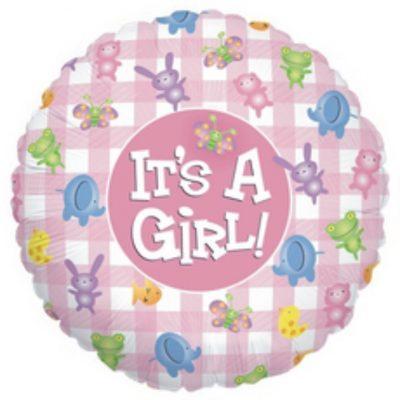 Μπαλόνι γέννησης Its a Girl καρώ με ζωάκια 45 εκ