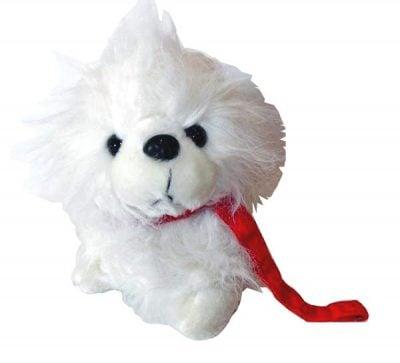 Λούτρινο μαλλιαρό Σκυλάκι με κόκκινο λουράκι