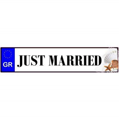 Πινακίδα αυτοκινήτου γάμου Just Married Κοχύλια