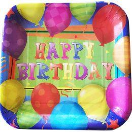 Πιάτα πάρτυ τετράγωνα Balloons (8 τεμ)