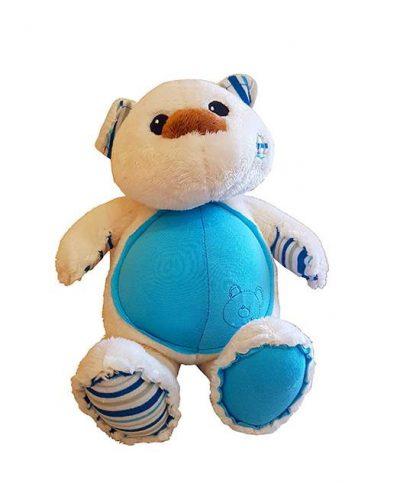 Λούτρινο Αρκουδάκι λευκό- γαλάζιο