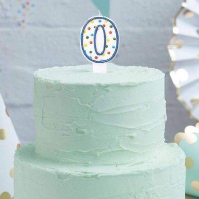Κεράκι τούρτας No 0 Πολύχρωμο Πουά