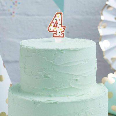 Κεράκι τούρτας No 4 Πολύχρωμο Πουά