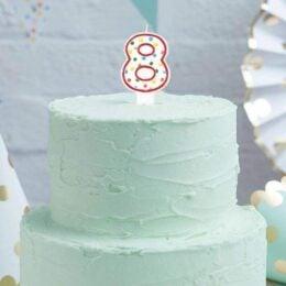 Κεράκι τούρτας No 8 Πολύχρωμο Πουά
