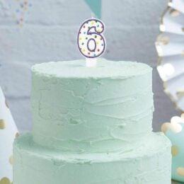 Κεράκι τούρτας No 6 Πολύχρωμο Πουά