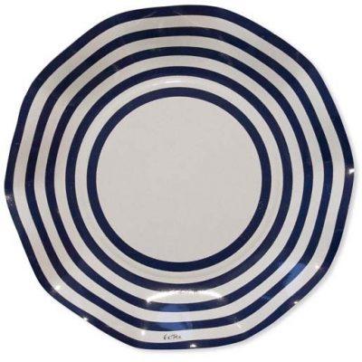 Πιάτα πάρτυ μικρά άσπρο - μπλε ριγέ (10 τεμ)