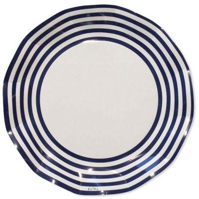 Πιάτα πάρτυ μεγάλα άσπρο - μπλε ριγέ (10 τεμ)