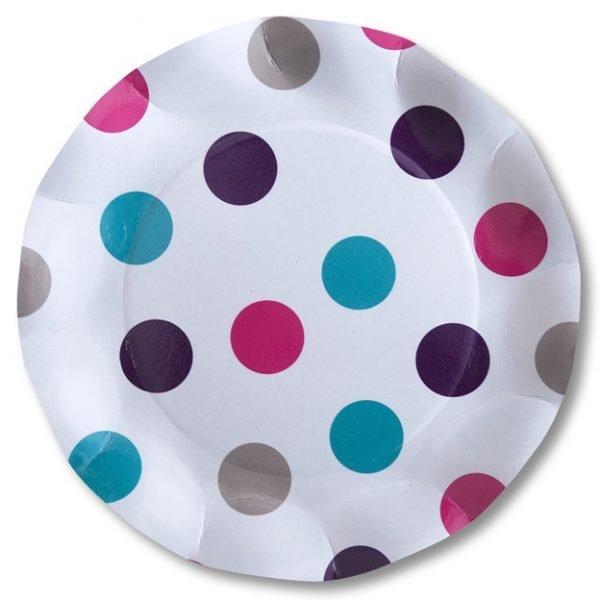 Πιάτα πάρτυ μεγάλα άσπρο πουά (10 τεμ)