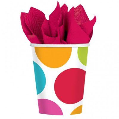 Ποτήρια πάρτυ πολύχρωμα πουά (8 τεμ)