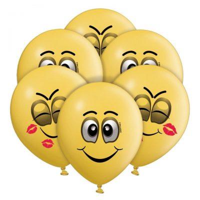 """12"""" Μπαλόνια Smile faces (6 τεμ)"""