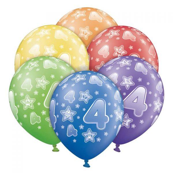 """12"""" Μπαλόνι γενεθλίων Νο 4 (6 τεμ)"""