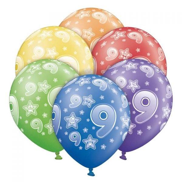 """12"""" Μπαλόνι γενεθλίων Νο 9 (6 τεμ)"""