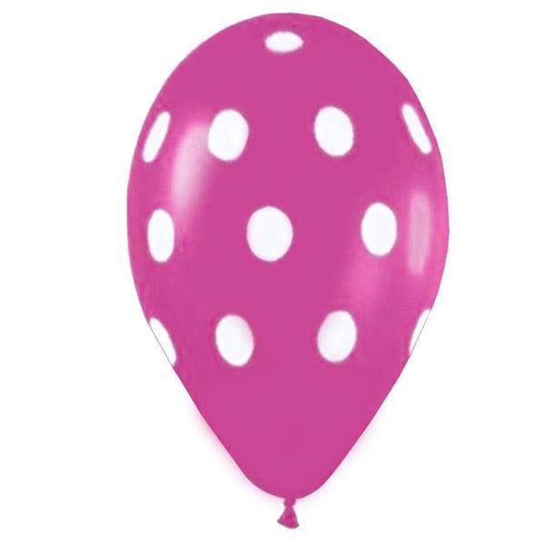 """12"""" Μπαλόνι τυπωμένο φούξια πουά"""