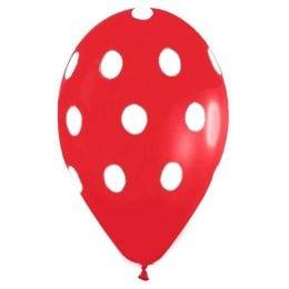 """12"""" Μπαλόνι τυπωμένο κόκκινο πουά"""