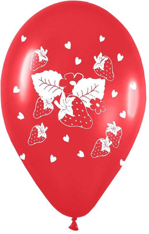 """12"""" Μπαλόνι τυπωμένο Κόκκινο φράουλα"""
