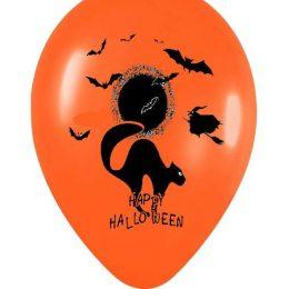 12″ Μπαλόνι τυπωμένο Happy Halloween γάτα σε 2 χρώματα