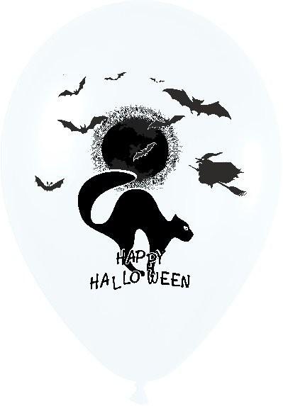 Τυπωμένο μπαλόνι 'Happy Halloween' γάτα σε 2 χρώματα