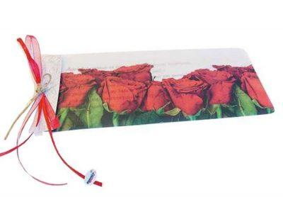 Προσκλητήριο διπλό καρτάκι ριζόχαρτο Τριαντάφυλλα