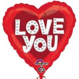 Μπαλόνι αγάπης Καρδιά 'Love You' ασημί καρδιές 45 εκ
