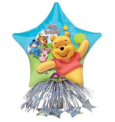 Μπαλόνι αστέρι Winnie Happy Bday με βαρίδιο 36 εκ