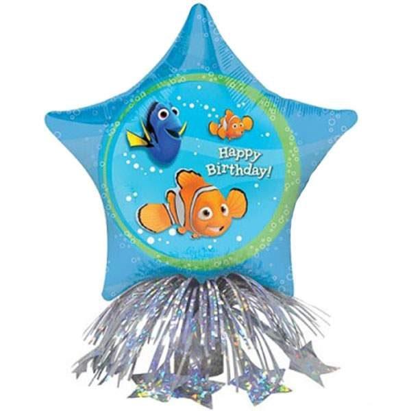 """Μπαλόνι αστέρι Νemo """"Happy Bday"""" με βαρίδιο & κορδέλες"""