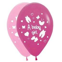 """12"""" Μπαλόνι A baby girl ρουχάκια"""