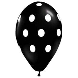 """12"""" Μπαλόνι μαύρο με λευκό πουά"""