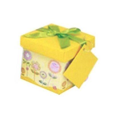 Κίτρινο Κουτί δώρου με λουλούδια