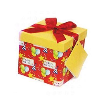 Κόκκινο Κουτί δώρου με μπαλόνια & αστέρια