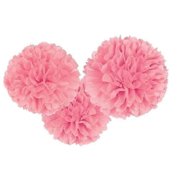 Σετ Ροζ χάρτινα pom pom (3 τεμ)
