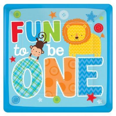 Πιάτα πάρτυ μεγάλα Fun to be One boy (8 τεμ)