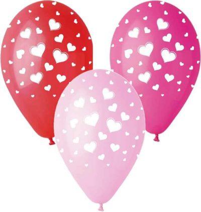 """12"""" Μπαλόνι τυπωμένο με καρδούλες (3 χρωμ)"""