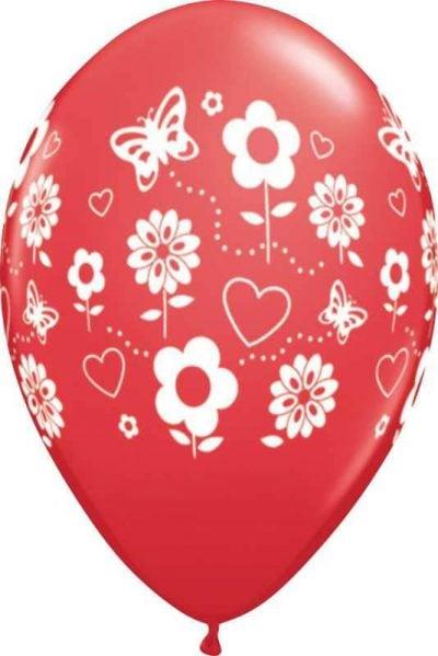 """12"""" Μπαλόνι τυπωμένο Κόκκινο καρδιές & μαργαρίτες"""