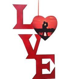 Ξύλινο διακοσμητικό Love με φωτογραφία