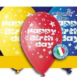 12″ Μπαλόνι 'Happy birthday' διάφορα χρώματα (5 τεμ)