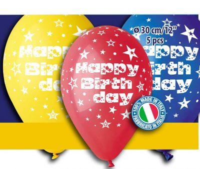 """12"""" Μπαλόνι 'Happy birthday' διάφορα χρώματα (5 τεμ)"""