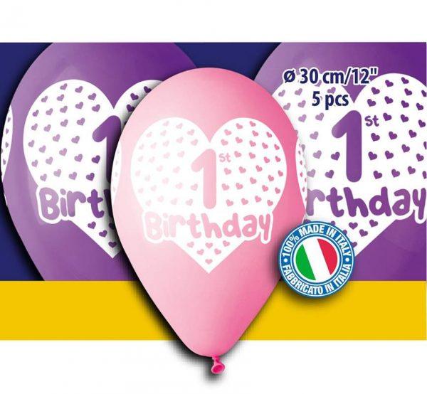 """12"""" Μπαλόνια πρώτα γενέθλια κοριτσάκι (5 τεμ)"""