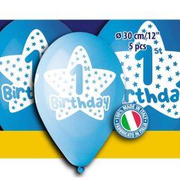 12″ Μπαλόνι πρώτα γενέθλια αγοράκι (5 τεμ)