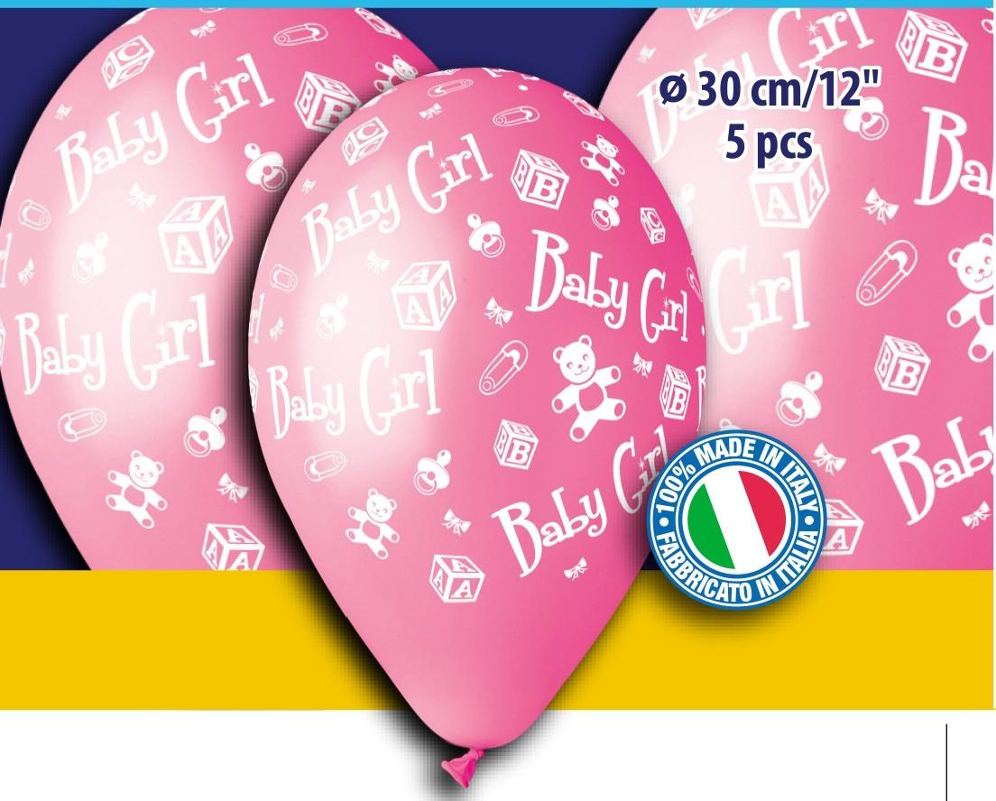 """12"""" Μπαλόνι ροζ baby girl (5 τεμ)"""